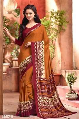 image of Orange Color Casual Wear Crepe Silk Fabric Printed Saree