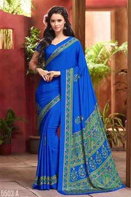 image of Fancy Print Blue Color Office Wear Saree In Crepe Silk Fabric