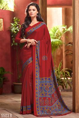 image of Red Color Formal Wear Fancy Print Crepe Silk Fabric Saree