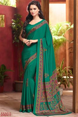 image of Fancy Print Regular Wear Beige And Blue Color Chiffon Saree