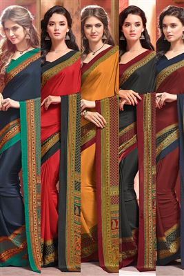image of Intriguing Combo of 5 Crepe Silk Fabric Fancy Print Sarees