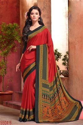 image of Crepe Silk Fabric Red Color Regular Wear Printed Saree