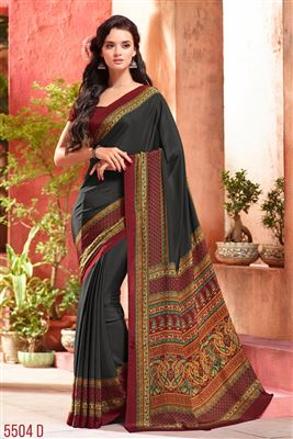 image of Cream And Green Color Printed Party Wear Saree In Fancy Fabric