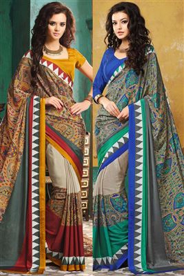 image of Mesmeric Combo of 2 Crepe Silk Printed Sarees