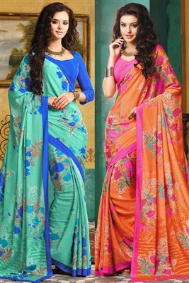 image of Glamorous Combo of 2 Designer Printed Sarees