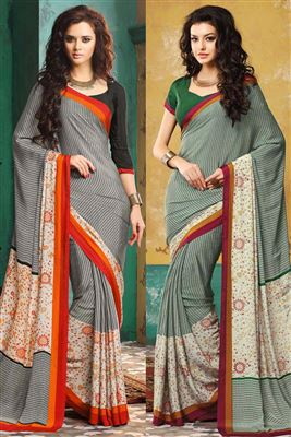 image of Combo of 2 Crepe Silk Casual Wear Fancy Print Sarees