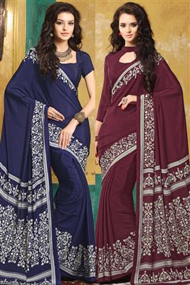 image of Jazzy Combo of 2 Crepe Silk Party Wear Sarees