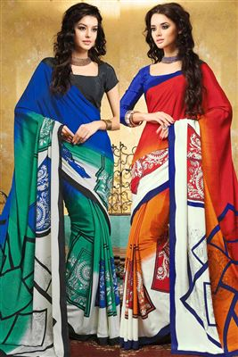 image of Swanky Combo of 2 Designer Printed Sarees