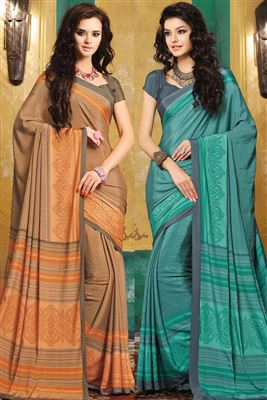 image of Combo of 2 Crepe Silk Fabric Casual Wear Printed Sarees