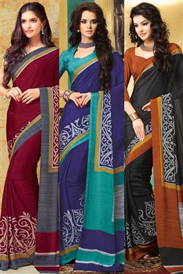 image of Lavishing Combo of 3 Crepe Silk Party Wear Sarees