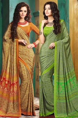 image of Scintillating Crepe Silk Printed Sarees Combo of 2