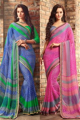 image of Blue And Black Color Magnetic Silk And Net Designer Wedding Saree
