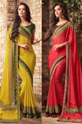 image of Party Wear Pink Chiffon Saree-5704