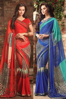 image of Blue Color Georgette Fabric Designer Saree With Embroidery Work