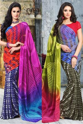 image of Beige And Black Color Designer Georgette Fabric Saree With Banglori Silk And Net Fabric Blouse