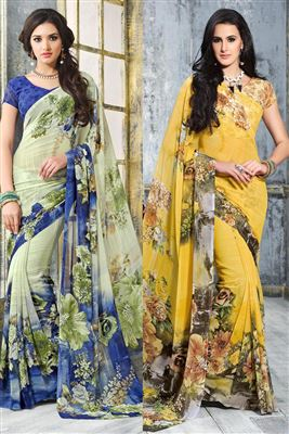 image of Lovely Sky Blue Color Party Wear Chiffon Saree