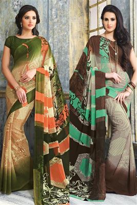 image of Peach Designer Satin-Georgette Saree with Blouse