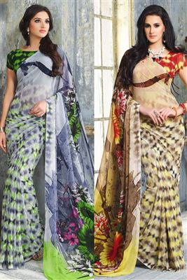 image of Grey-Orange Georgette Party Wear Saree