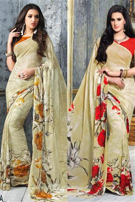 image of Embroidered Cream-Blue Designer Saree-13230