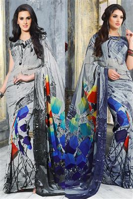image of Beige-Grey Satin-Chiffon Heavy Embroidered Saree