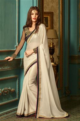 image of Enigmatic Peach Color Georgette Fabric Embroidered Saree