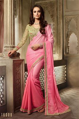 image of Red-Green Satin-Chiffon Festive Wear Designer Sare