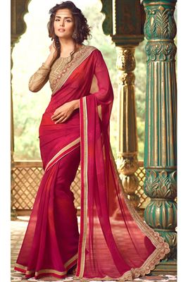 image of Red-Cream Net-Georgette Embroidered Saree-58