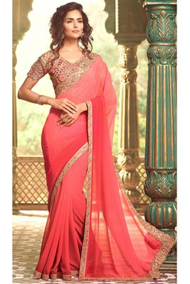 image of Orange Chiffon-Georgette Festive Wear Lehenga Sare