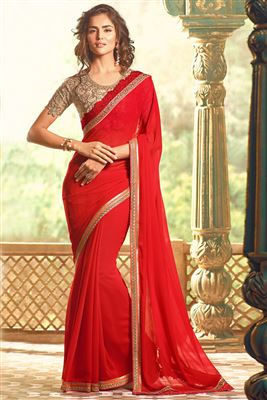 image of Beige Color Embroidered Designer Saree in Georgette-Crepe Fabric