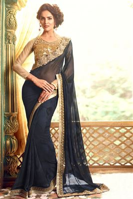 image of Gorgeous Wine Embroidered Chiffon-Brasso Saree