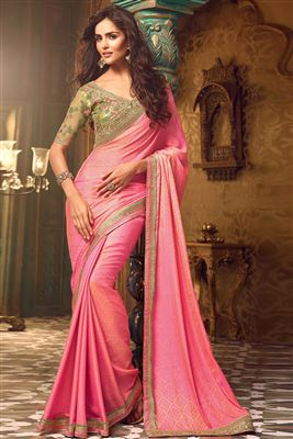 image of Festive Wear Designer Red And Cream Color Saree In Georgette And Net Fabric