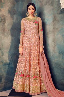 689445c55 image of Priyanka Chopra Net Turquoise Color Straight Cut Fancy Salwar Suit