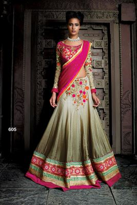 image of Brown Silk Embroidered Bridal Lehenga Choli