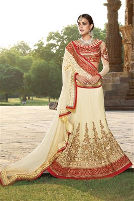 image of Charismatic Orange Color Georgette-Satin Designer Bridal Lehenga