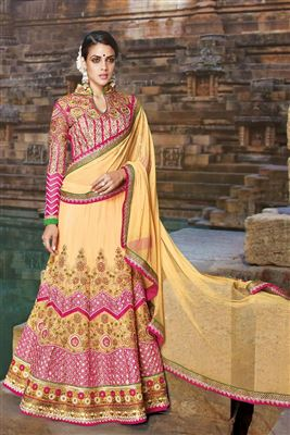 image of Wedding Bridal Net Lehenga Choli In Beige Color with Embroidery