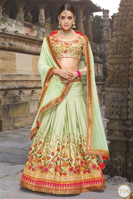 image of Green Color Wedding Bridal Embroidered Lehenga Choli In Silk Fabric
