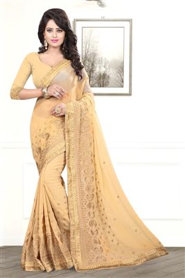 image of Embroidered Chiffon-Net Fabric Designer Saree in Pink Color