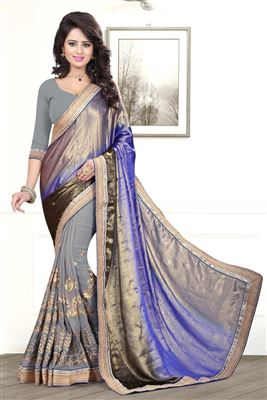 image of Pink Color Designer Saree in Net-Jacquard Fabric with Art Silk Blouse
