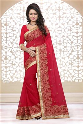 image of Chiffon And Jacquard Fabric Party Wear Designer Saree In Red Color