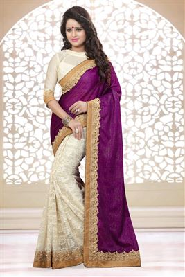 image of Soothing Silk-Georgette Party Wear Printed Saree