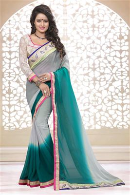 image of Cyan Color Embroidered Designer Saree in Georgette Fabric