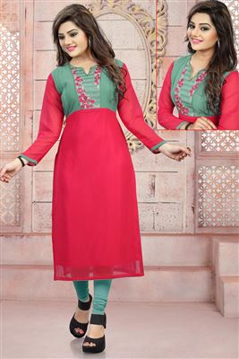 image of Enigmatic Off White Color Georgette Designer Kurti