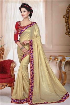 image of Beige-Pink Net Saree with Brocade-Net Blouse