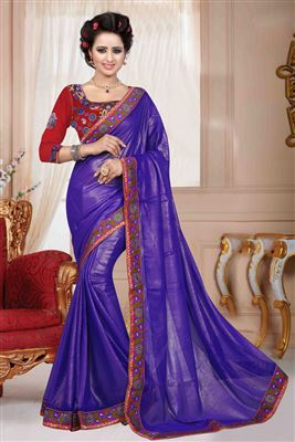 image of Chiffon And Georgette Fabric Designer Saree In Blue Color With Blouse