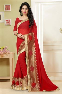 image of Grey-Brown Georgette-Jacquard Designer Saree-13237