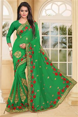 image of Designer Green Color Saree In Georgette Fabric With Embroidery