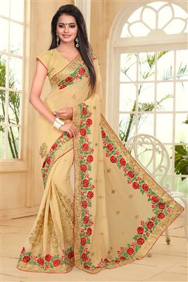 image of Charming Yellow Color Designer Party Wear Saree