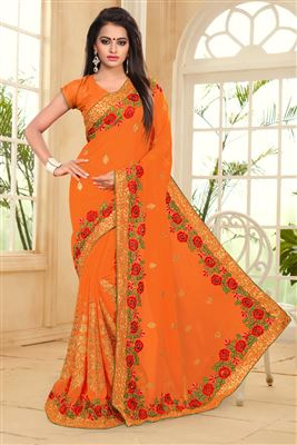 image of Red-Beige Color Designer Bemberg-Georgette Saree with Embroidery