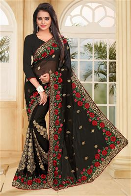 image of Red Party Wear Designer Georgette Saree-14001