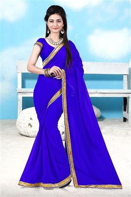 image of Georgette Fabric Party Wear Saree in Magenta Color with Border